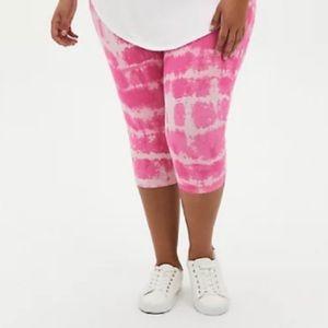 🆕 Pink Tie Dye Pedal Pusher Premium Legging 3X 22